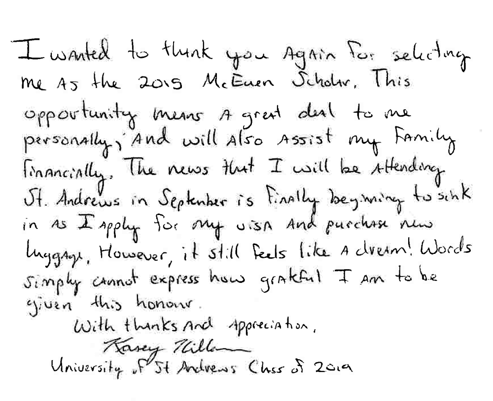 Thank you letter from 2015 Scholar